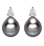 18ct White Gold Diamond & Tahitian Cultured Pearl Earrings