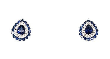 18ct White Gold Diamond & Sapphire Drop Earrings