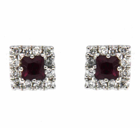 18ct White Gold Diamond & Ruby Earrings