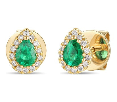 18ct Yellow Gold Diamond & Emerald Earrings