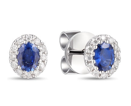 18ct White Gold Diamond & Sapphire Earrings