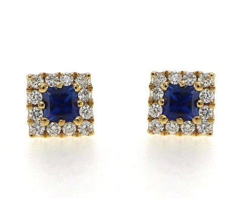 18ct Yellow Gold Diamond & Sapphire Earrings