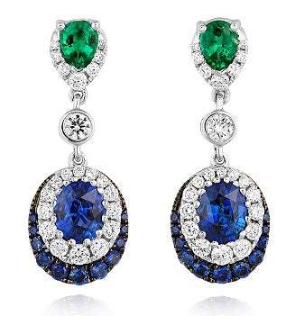 18ct White Gold Diamond Emerald & Sapphire Earrings