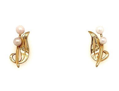 Scottish Freshwater Pearl Orchid 9ct Yellow Gold Ear Studs