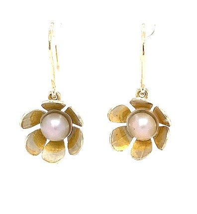 Scottish Freshwater Pearl 9ct White Gold Handmade Floral Drop Earrings