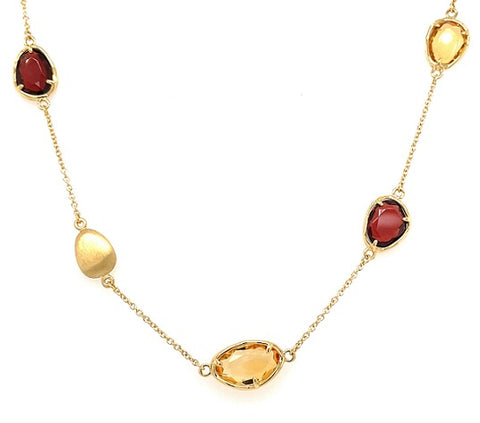 18ct Yellow Gold Citrine & Garnet Necklace