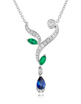 18ct White Gold Diamond Emerald & Sapphire Necklace