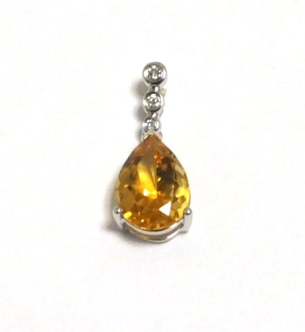 18ct White Gold Diamond & Citrine Drop Pendant