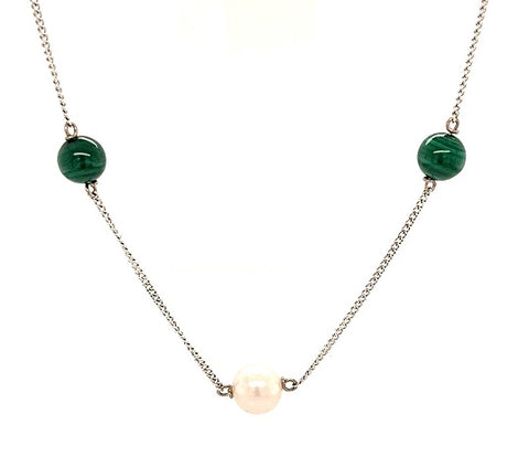 Scottish Freshwater Pearl 9ct White Gold Malachite Necklace