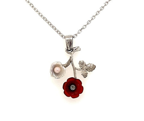Scottish Freshwater Pearl Diamond & Cornelian 18ct White Gold Pendant