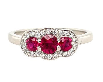 Platinum Diamond & Three Stone Ruby Ring