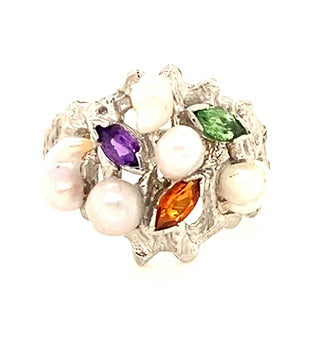 Scottish Freshwater Pearl & Stone 18ct White Gold Contemporary Ring