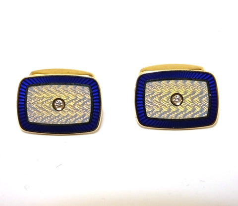 18ct White Gold Diamond & Enamel Cufflinks
