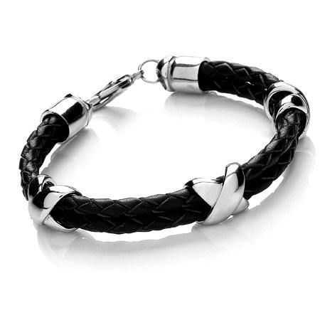 Gents Plaited Leather Bangle - 4mm - Bolo - Black