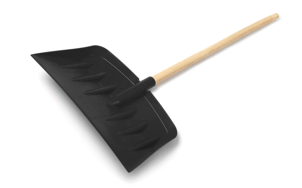 Heavy Duty Plastic Snow Shovel with Wooden Shaft