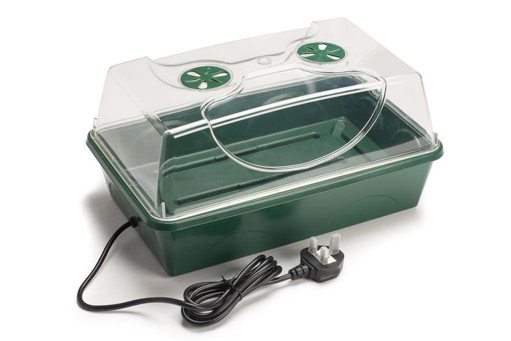 heated electric medium sized propagator for germination and growth of seeds, cuttings and plants
