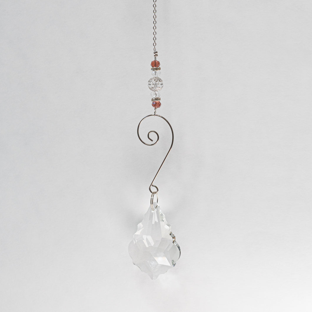 Suncatcher w/ Crystal  and plum beading.