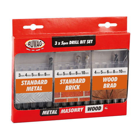 Ruwag 15 Piece Combo Drill Set - HSS/Masonry/Wood
