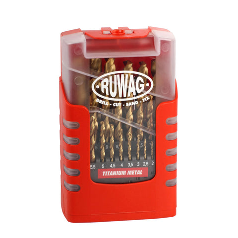 Ruwag 25 Piece Grip Box Titanium Metal Drill Set