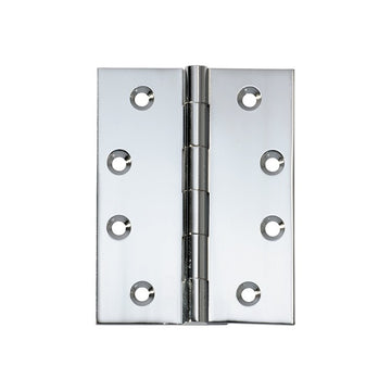 Polished Chrome Butt Hinge Fixed Pin (Multiple Sizes)