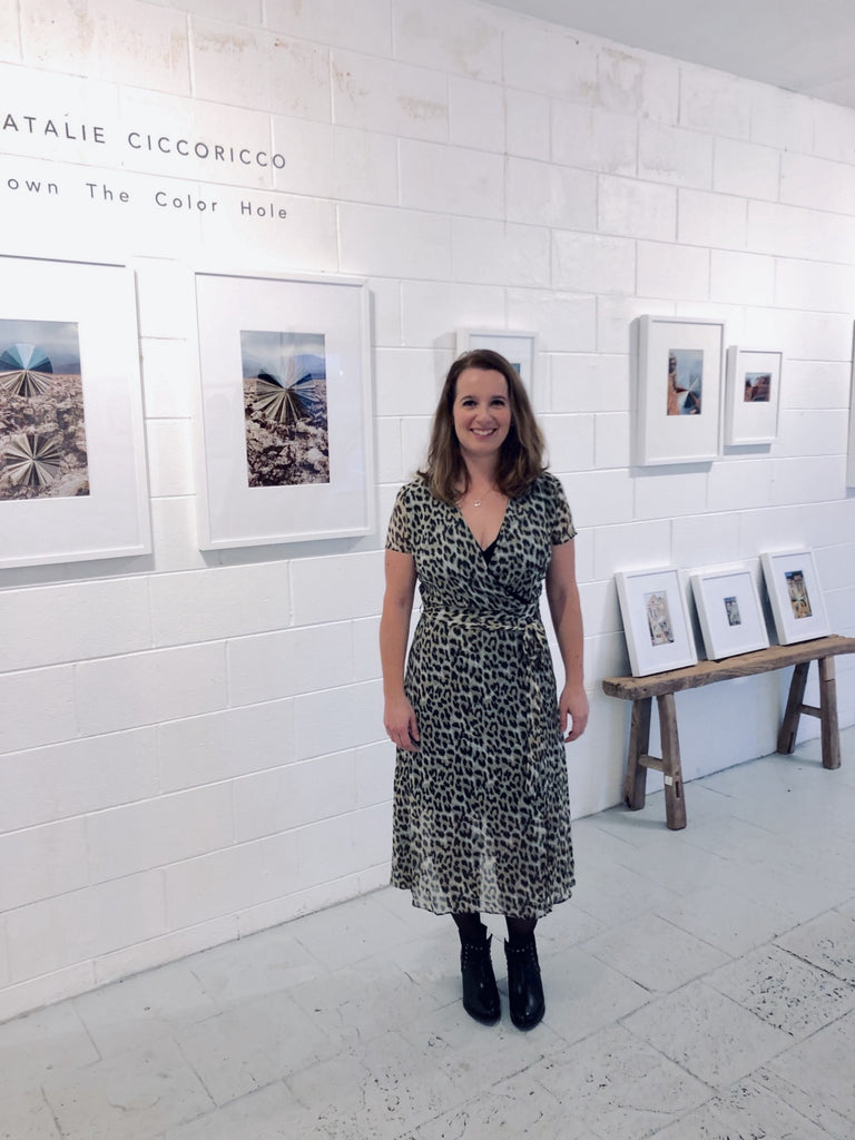 Natalie at her recent solo show at Zukowski Collective in Pacifica