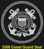 CG02 - COAST GUARD KA-BAR - LASER ENGRAVED - BOTH SIDES - BLACK HANDLE