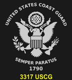 "CG82BL - COAST GUARD COMM - ""SEMPER PARATUS"" + YOUR PERSONAL ENGRAVING ON THE BACK - LEATHER HANDLE"