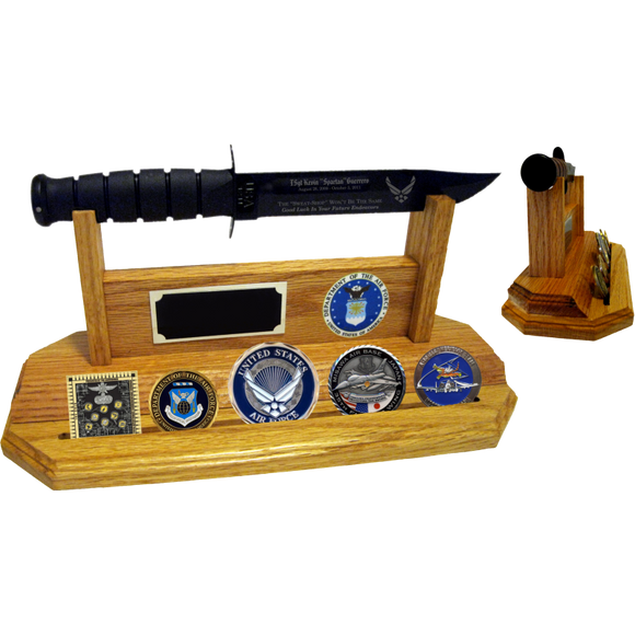 AF60 - AIR FORCE COIN STAND-UP - LIGHT OAK (KA-BAR and Coins not included)