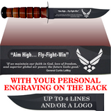 "AF80BL - AIR FORCE Comm - ""AIM HIGH"" + YOUR PERSONAL ENGRAVING ON THE BACK - LEATHER HANDLE"