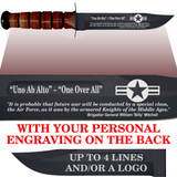 "AF84BL - AIR FORCE Comm - ""ONE OVER ALL"" + YOUR PERSONAL ENGRAVING ON THE BACK - Leather"