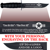 "AF84B - AIR FORCE Comm - ""ONE OVER ALL"" + YOUR PERSONAL ENGRAVING ON THE BACK - BLACK HANDLE"
