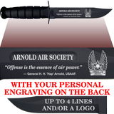 "AF88B - AIR FORCE Comm - ""ARNOLD AIR"" + YOUR PERSONAL ENGRAVING ON THE BACK - BLACK HANDLE"