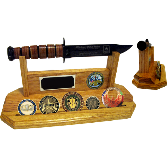 AR60 - ARMY COIN STAND-UP - LIGHT OAK (KA-BAR and Coins not included)
