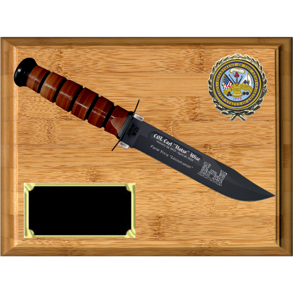 AR04 - ARMY BAMBOO PLAQUE (KA-BAR not included)