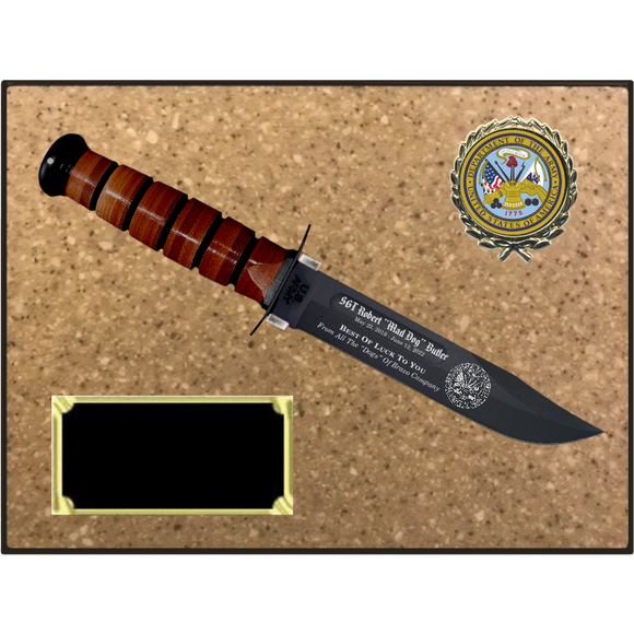 AR56 - ARMY KORINITE LIGHT BROWN SUGAR PLAQUE  (KA-BAR not included)