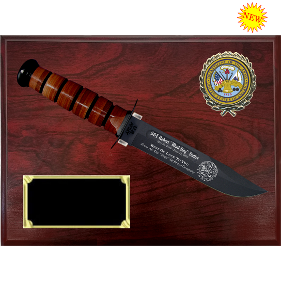 AR58 - ARMY RUBY WOODGRAIN FINISH PLAQUE (KA-BAR not included)