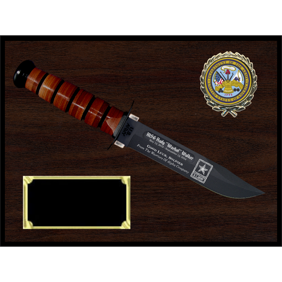AR16 - ARMY WOODGRAIN FINISH PLAQUE (KA-BAR not included)