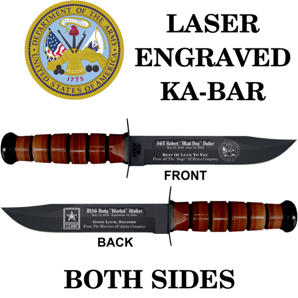 AR02 - ARMY KA-BAR - LASER ENGRAVED - BOTH SIDES
