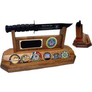 CG20 - COAST GUARD COIN STAND-UP - HONEY OAK (KA-BAR and Coins not included)