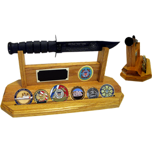 CG60 - COAST GUARD COIN STAND-UP - LIGHT OAK (KA-BAR and Coins not included)
