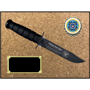 CG56 - COAST GUARD KORINITE LIGHT BROWN SUGAR PLAQUE  (KA-BAR not included)