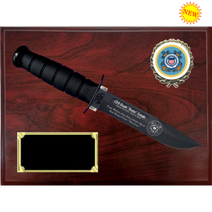 CG58 - COAST GUARD RUBY WOODGRAIN FINISH PLAQUE (KA-BAR not included)