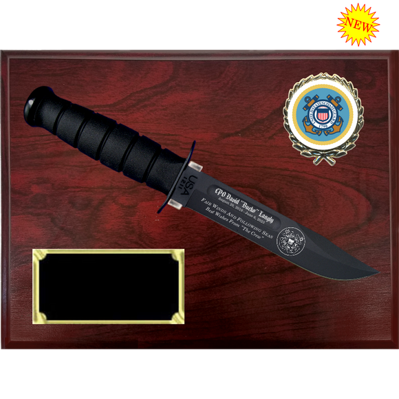 CG58 - COAST GUARD RUBY RED MARBLEIZED FINISH PLAQUE (KA-BAR not included)