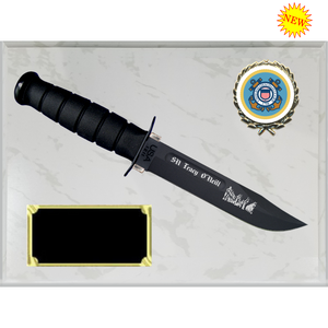 CG30 - COAST GUARD WHITE MARBLE FINISH PLAQUE (KA-BAR not included)