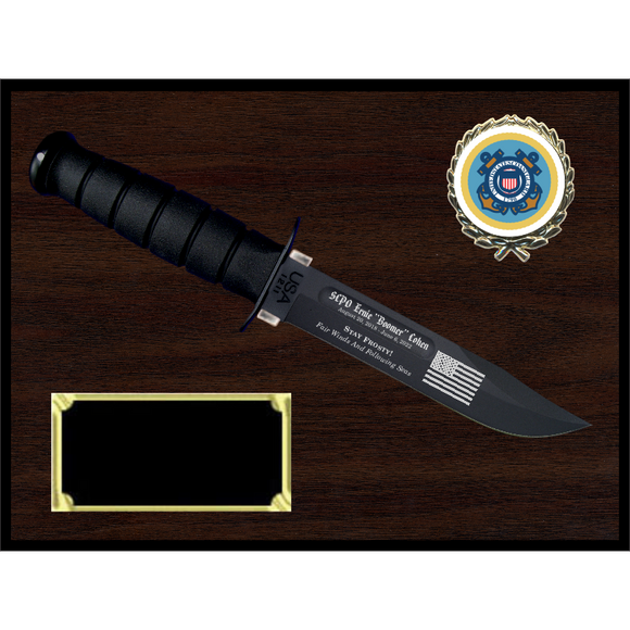 CG16 - COAST GUARD WOODGRAIN FINISH PLAQUE (KA-BAR not included)