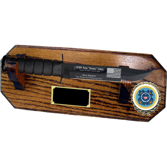CG72 - COAST GUARD WALL MOUNT - HONEY OAK (KA-BAR not included)