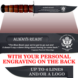 "CG80BL - COAST GUARD Comm - ""ALWAYS READY"" + YOUR PERSONAL ENGRAVING ON THE BACK - LEATHER HANDLE"