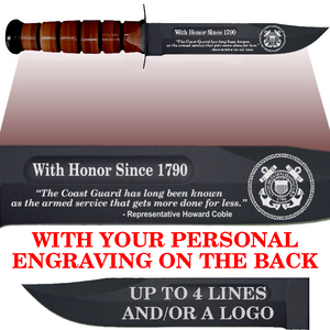 "CG86BL - COAST GUARD Comm - ""WITH HONOR SINCE 1790"" + YOUR PERSONAL ENGRAVING ON THE BACK - LEATHER"