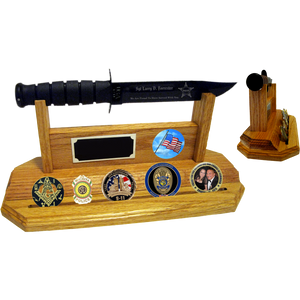 CV60 - CIVILIAN COIN STAND-UP - LIGHT OAK (KA-BAR and Coins not included)