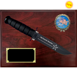 CV58 - CIVILIAN RUBY WOODGRAIN FINISH PLAQUE (KA-BAR not included)